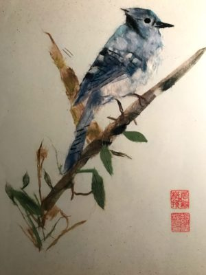 Blue Jay - Chigirie Japanese Torn Paper Collage Art
